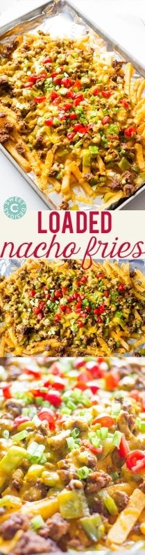 Loaded Nacho Fries- these are insanely easy, cheesy and delicious! Loaded Nacho Fries- these are insanely easy, cheesy and delicious! Think Food, I Love Food, Good Food, Yummy Food, Tasty, Mexican Food Recipes, Beef Recipes, Cooking Recipes, Nacho Recipes