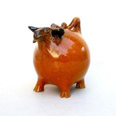 Ceramic Bull Rust And Brown Bull Sculpture van jorgemealha op Etsy, €52.50