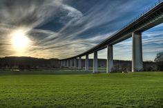 """The bridge """"Mintarder Ruhrtalbrücke"""" in Mülheim an der Ruhr is an impressive landmark in the Ruhr valley connecting the cities Düsseldorf and Essen through a motorway."""