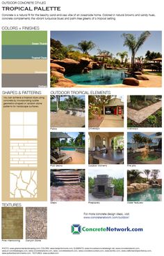 Outdoor concrete style guide from ConcreteNetwork.com featuring tropical designs.