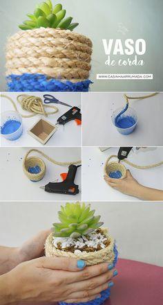 DIY - Vaso de Corda | Decorando em 1 minuto - Casinha Arrumada