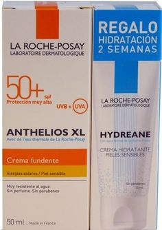 La Roche Posay Anthelios Xl Spf 50+ Melt-in-cream + Gift Hydreane Light Cream 15 Ml. by La Roche Posay Anthelios Xl Spf 50+ Melt-in-cream + Gift Hydreane Light Cream 15 Ml.. $19.95. The filter system is also enriched with Senna Alata extract against long term cellular damage.. Facial sunblock. Very high facial protection. Ultra UVA (PPD 42).. Scented. Paraben free. Lighter in chemical filters. Skin type / Problematic:  Sensitive skin to skin prone to sun intolerance, comm...