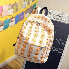 Feitong 2016 New Women Canvas Backpacks Smiley Emoji Face Printing School Bag For Teenagers Girls Shoulder Bag Mochila Feminina