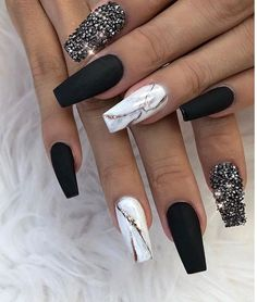 80 Matte Black Coffin & Almond Nails Design Ideas To Try 80 Matte Bl. - Care - Skin care , beauty ideas and skin care tips Matte Acrylic Nails, Glitter Acrylics, Gold Nails, Edgy Nails, Black Nails With Glitter, Black Coffin Nails, Black Nail Art, Red Black Nails, Black Nails