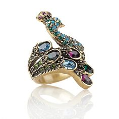 """Heidi Daus """"Sparkling Showoff"""" Crystal Peacock Ring by Scholten Peacock Ring, Peacock Jewelry, Bird Jewelry, Jewelry Box, Vintage Jewelry, Jewelry Accessories, Fashion Accessories, Jewelry Design, Fashion Jewelry"""
