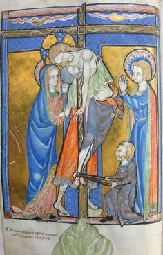 the Deposition -  MS K.26, one of a sequence of 46 Biblical illustrations (c.1270-80) inserted at the front of a fourteenth-century Psalter (English)