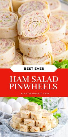 Ham Salad Tortilla Pinwheels are fun party appetizers that are family-friendly and make delicious finger food for a party, picnic, or lunch! Burrito Sized Tortillas are filled with ham salad made with ham, cream cheese, celery, mayo, mustard, relish, and more, for a make-ahead, budget-friendly party appetizer! Ham Salad Recipes, Lemon Dessert Recipes, Recipes Appetizers And Snacks, Easy Appetizer Recipes, Lemon Recipes, Yummy Appetizers, Snack Recipes, Party Appetizers, Dinner Recipes