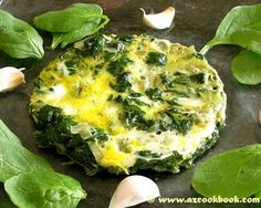 SPINACH WITH EGGS: 2 pounds fresh spinach,   5 tablespoons butter or oil,  1 medium onion,  1/4 teaspoon ground pepper,   4 eggs, lightly beaten