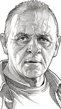 Wall Street Journal portrait (hedcut) of Anthony Hopkins
