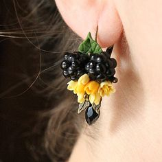 Cherry earrings Blackberry earings Blueberry earrings Berries