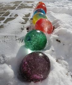 Very cool idea! I know it is Summer but save this tip for next Winter: Fill balloons with water and add food coloring, once frozen cut the balloons off & they look like giant marbles.