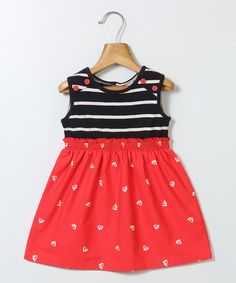 Look what I found on #zulily! Red & Black Stripe Ship A-Line Dress - Infant, Toddler & Girls #zulilyfinds