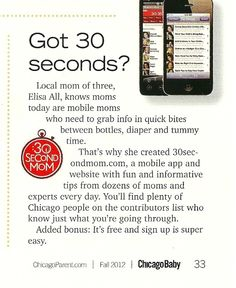 30 Second Mom - Elisa All 30SecondMom: Chicago Baby: Great Magazine for Expectant/New Parents