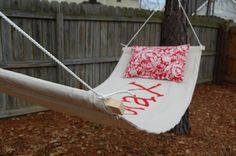 Make your own hammock. At 1st, glance I thought the hammock said Xanax! Lol!
