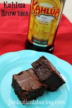 Kahlua Brownies | Fudgy chocolate brownies with a kick of #Kahlua coffee and rum liqueur