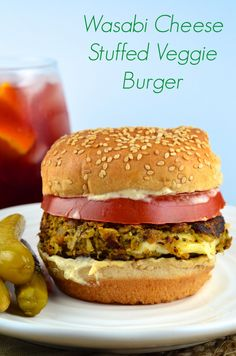 Wasabi Cheese Stuffed veggie burger #burger #veggi…