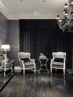 michael habachy contemporary black sitting room I love the floor. It must be an ebony stain. I am going to try it. The ceiling looks like it may be pearlized. Living Room Green, Living Room Paint, Home And Living, Small Living, Contemporary Bedroom, Living Spaces, Living Rooms, Designer, House Design