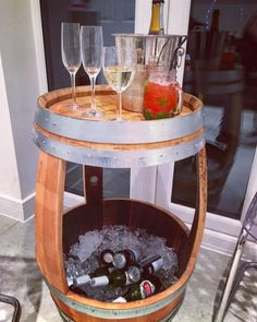 This multi-usage storage barrel is made by our skilled craftsmen at Period Home Style. The bottom can be lined to store ice & bottles; a rustic cooler! The top is spacious enough to use as a side or serving table. Not just useful for a garden party or socialising; this would also make a great bedside table! Anything is possible when you upcycle. Go the website for more of our intelligent creations.