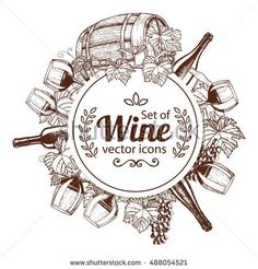 Circle shape template with wine icons. Sketch style illustration of wine theme for vintage decorations of restaurant or bar menu. Vector.