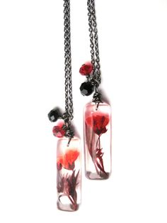 Real Baby Breath Necklace - Real Red Baby's Breath Encased in Resin - Pressed Flower Jewelry - Resin Necklace - Wire Wrapped Pendant