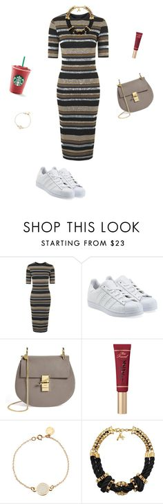 """""""<3"""" by ercyveli ❤ liked on Polyvore featuring Topshop, adidas Originals, Chloé, Too Faced Cosmetics, Marc by Marc Jacobs, John & Pearl, dress, starbucks, adidas and topshop"""