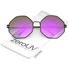 f219489e13 Oversize Metal Frame Slim Temple Colored Mirror Lens Hexagon Sunglasses  63mm - Black   Purple Mirror - CM12O43ZV76