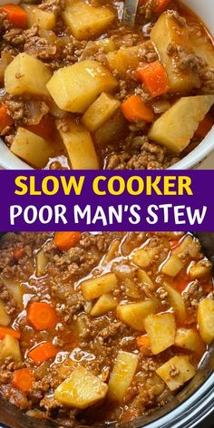 Slow Cooker Poor Man's Stew - Link correct as of Slow Cooker Stew Recipes, Slow Cooker Desserts, Crockpot Dishes, Soup Recipes, Potato Recipes, Crockpot Beef Stew Recipe, Crockpot Recipes With Hamburger, Beef Goulash Slow Cooker, Crockpot Recipes With Potatoes