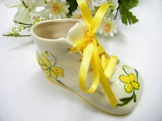 Ceramic Baby Shoe with Actual Ribbon Laces by TheSandlapperShop, $7.00