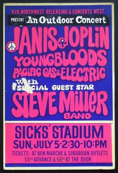 What concert this must of been! Tour Posters, Band Posters, Music Posters, Hippie Posters, Music Pics, Old Music, Janis Joplin, Vintage Concert Posters, Poster Vintage