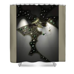 """Glam Shower Curtain by Muge Basak.  This shower curtain is made from 100% polyester fabric and includes 12 holes at the top of the curtain for simple hanging.  The total dimensions of the shower curtain are 71"""" wide x 74"""" tall."""