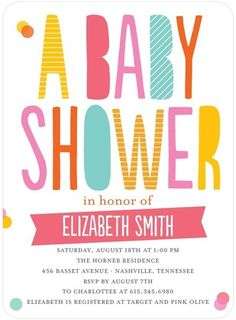 Baby Shower Invitations Totally Confetti - Front : Medium Pink     @Ch