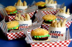 Brownie Burger Cupcakes  Sugar Cookie French  Fries tutorial plus templates in pdf format for the tray, the french fry holders that say Happy Father's Day and design for the tissue paper.