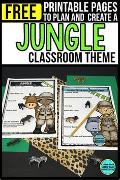Photos, ideas & printable classroom decorations to help teachers plan & create an inviting Jungle Safari themed classroom on a budget. Lots of free decor tips & pictures. Jungle Bulletin Boards, Jungle Theme Classroom, Classroom Bulletin Boards, Classroom Themes, Classroom Organization, Rainforest Classroom, Rainforest Project, Classroom Design, Safari Theme