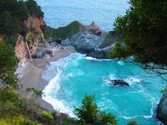 McWay Falls, Big Sur Picture: McWay Falls, Big Sur - Check out Tripadvisor members' 851 candid photos and videos of McWay Falls Big Sur California, California Travel, Travel Oklahoma, Oh The Places You'll Go, Places To Travel, Places To Visit, Dream Vacations, Vacation Spots, Vacation Destinations