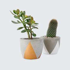 Fox & Ramona Large Concrete Planters Triangle Design
