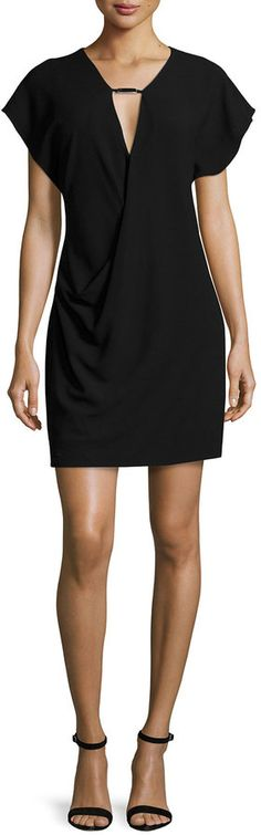 Halston Heritage Short-Sleeve Drape-Front Dress, Black