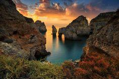 Christophe Afonso Photography  Sunrise @Ponta da Piedade (Lagos, Algarve, Portugal), possibly the most beautiful natural feature of the Algarve coastline.