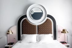 Architectural headboard, Henrietta Hotel, London, Dorothée Melichzon design. Karol Balas photo.