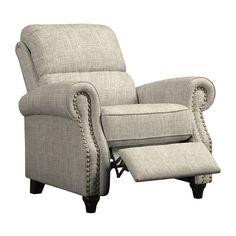 prolounger barley tan linen push back recliner chair by prolounger