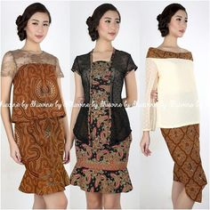 Batik modern dari Indonesia Kebaya Dress, Batik Kebaya, Dress Pesta, Batik Blazer, Blouse Batik, Simple Dresses, Nice Dresses, Casual Dresses, Model Dress Batik