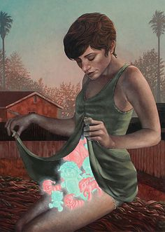 """Only Childs"" - Casey Weldon, oil on board {contemporary #surrealism art female glowing animals woman cropped painting} caseyweldon.com"