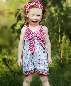 Blue & Red Cupcake Bow Romper - Toddler & Girls