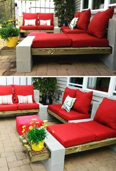 "Backyard Patio Furniture ""DIY Outdoor Cinder Block DIY Concrete Block Furniture Projects - New Sensations Garden"", ""Pallets or wood beams, cinderblocks Cinder Block Furniture, Pallet Furniture, Furniture Projects, Outdoor Furniture Sets, Garden Furniture, Concrete Furniture, Inexpensive Patio Furniture, Furniture Design, Cheap Furniture"
