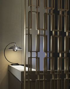 Metal room divider screen - Hazelton Hotel, Toronto, wall screen divider interior design, contemporary custom made. This would be fab for the bar Partition Screen, Partition Design, Partition Ideas, Metal Room Divider, Room Divider Screen, Screen Design, Wall Design, Space Dividers, Grey Interior Design