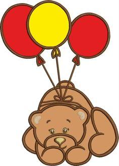 Медведь с шариками, аппликация, дизайн машинной вышивки, моментальное скачивание by Tamarladesign on Etsy