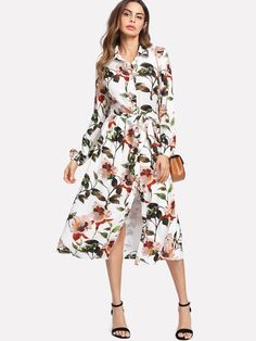 Shein Lantern Sleeve Self Belted Shirt Dress