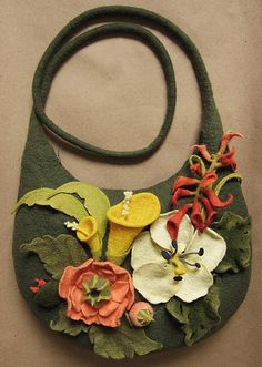 Felted flower purse
