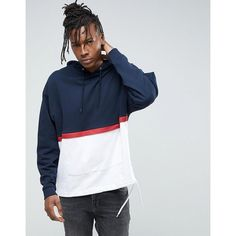 ASOS Cut & Sew Oversized Hoodie With Drawcord Hem ($46) ❤ liked on Polyvore featuring men's fashion, men's clothing, men's hoodies, navy, mens tall hoodies, mens sweatshirts and hoodies, mens cotton hoodies and mens hoodies