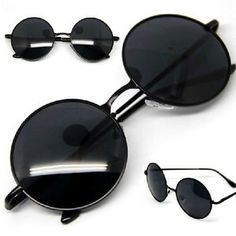 Vintage-Retro-Men-Women-Round-Metal-Frame-Sunglasses-Eyewear-Glasses-Black-Lens
