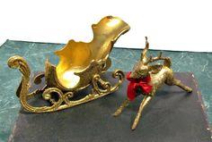 Gold Sleigh and Reindeer Vintage Mid Century Christmas Decor
